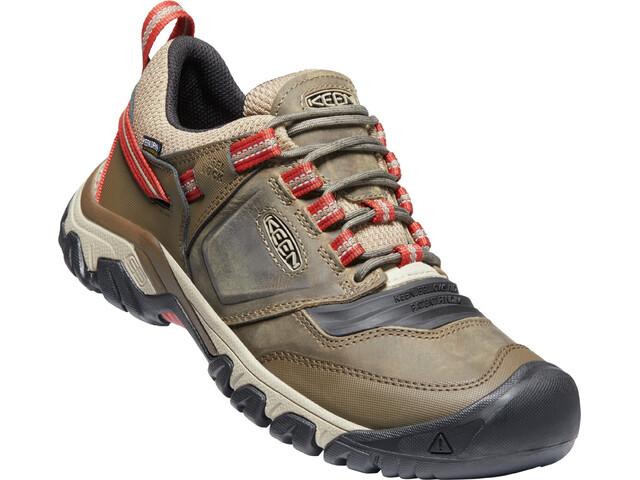 Keen Ridge Flex WP Shoes Men timberwolf/ketchup
